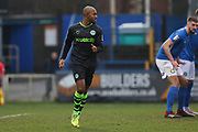 Robert Hall in action during the EFL Sky Bet League 2 match between Macclesfield Town and Forest Green Rovers at Moss Rose, Macclesfield, United Kingdom on 25 January 2020.