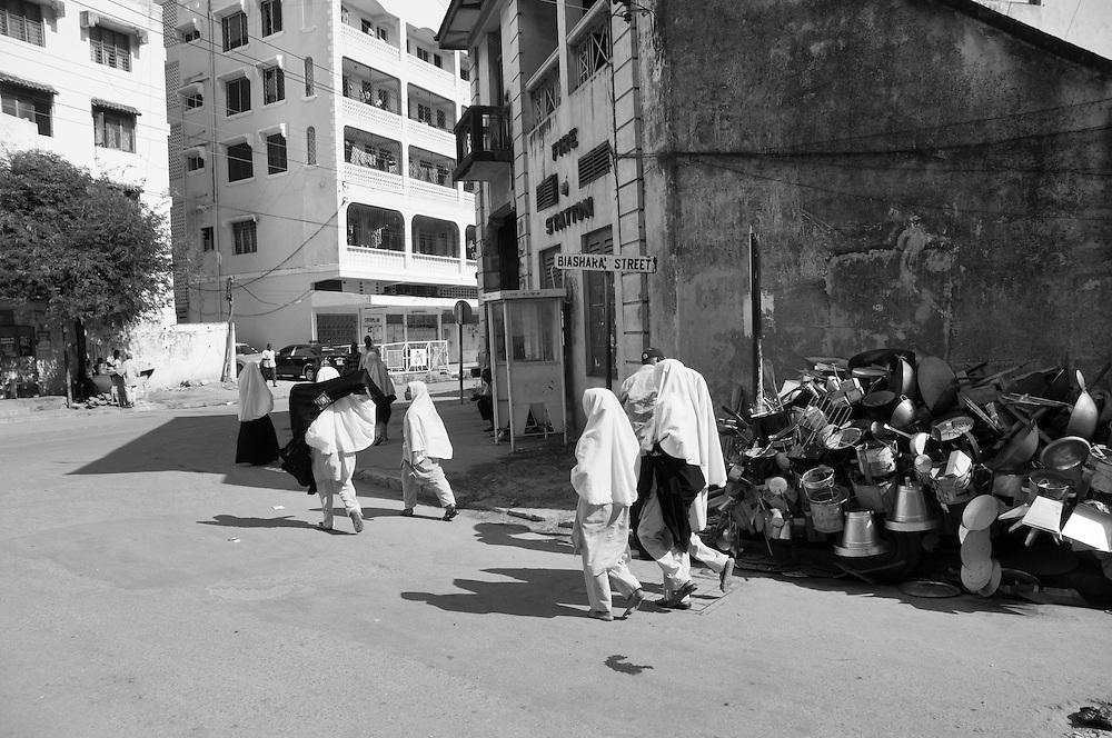 Girls walking from school in Mombasa, Kenya