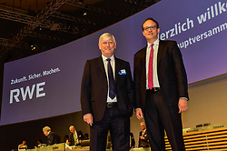 Germany, Essen - May 3, 2019.Annual general meeting of German power supplier RWE AG.From left Rolf Martin Schmitz and Markus Krebber (Credit Image: © Sepp Spiegl/Ropi via ZUMA Press)