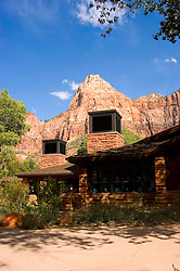 Visitor Center at Zion National Park, Utah, UT, Rock formation, landform, The Watchtower seen from the Visitor's Center, desert cooler air conditioners, arid, Southwest America, American Southwest, US, United States, Image ut396-17704, Photo copyright: Lee Foster, www.fostertravel.com, lee@fostertravel.com, 510-549-2202