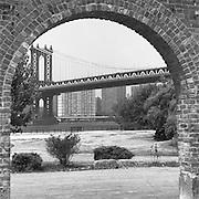 Manhattan Bridge Through Brick Arch