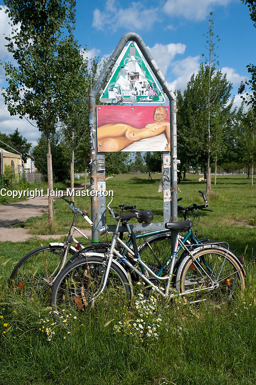 Detail of bicycles and artistic graffiti at Mauer Park in Prenzlauer Berg in Berlin Germany