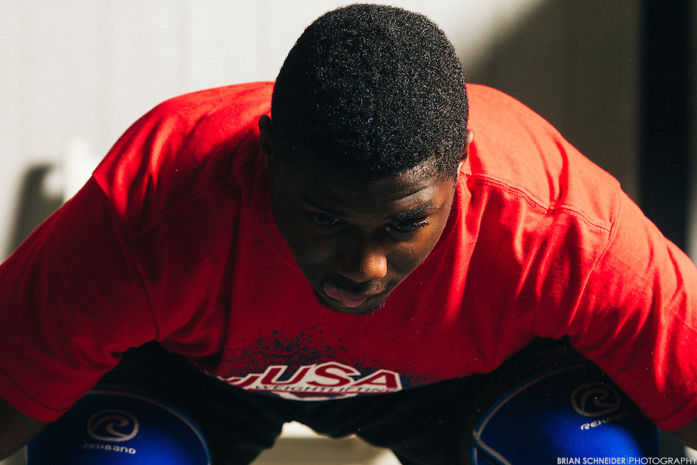 June 16, 2016; Beaufort, SC, USA; CJ Cummings is a (69kg, USA) Olympic Weightlifter from Beaufort, SC. He's 16 years old and sponsored by Reebok and Eleiko. On June 27, 2016 he won the 2016 IWF Junior World Championships with 317kg, setting a World Youth Record. His 180kg (396 lbs) clean and jerk and 317kg total are Senior American Records. He also completed a 137kg (302lb) snatch.<br /> <br /> Credit:<br /> Brian Schneider-www.ebrianschneider.com<br /> Instagram - @ebrianschneider<br /> Twitter - @brian_schneider<br /> Facebook - @ebrianschneider