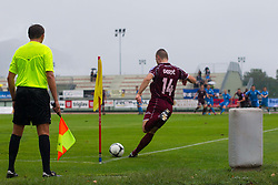Bojan Duric of NK Triglav  and line umpire during football match between NK Triglav Kranj and ND Gorica, 7th Round of Prva Liga, on 26 August, 2012, in Sportni center, Kranj, Slovenia. (Photo by Grega Valancic / Sportida)