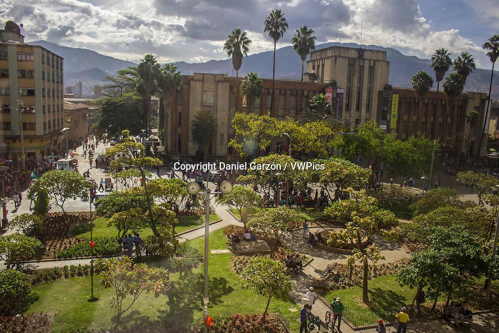 Sunny day at Botero plaza, Medellin.