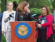 Hempstead, New York, USA. May 30, 2019. At podium, U.S. Representative KATHLEEN RICE (NY-04) holds a press conference to announce she's introducing Three Bills to Congress to combat Impaired and distracted Driving. Her voice broke with sadness and she turned toward ALISA MCMORRIS, when the Rep. explained McMorris's 12-year-old son Andrew was killed by drunk driver exactly 8 months ago in Manorville while walking with a group of fellow Boy Scouts. At left is Nassau County Executive LAURA CURRAN. Congresswoman Rice announced the package of 3 bills - End Drunk Driving Act, the Prevent Impaired Driving Child Endangerment Act, and the Distracted Driving Education Act of 2019 - at the Drunk Driving Victims Memorial in Eisenhower Park.