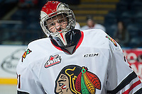 KELOWNA, CANADA - NOVEMBER 21: Adin Hill #31 of Portland Winterhawks skates during warm up against the Kelowna Rockets on November 21, 2014 at Prospera Place in Kelowna, British Columbia, Canada.  (Photo by Marissa Baecker/Shoot the Breeze)  *** Local Caption *** Adin Hill;