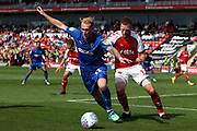 AFC Wimbledon midfielder Mitch Pinnock (11) and Fleetwood Town defender Cian Bolger (12) during the EFL Sky Bet League 1 match between Fleetwood Town and AFC Wimbledon at the Highbury Stadium, Fleetwood, England on 4 August 2018. Picture by Craig Galloway.
