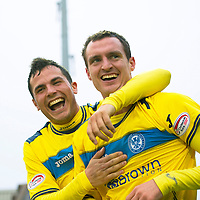 Inverness Caledonian Thistle v St Johnstone...27.10.12      SPL<br /> David Robertson celebrates his late equaliser with Gary Miller<br /> Picture by Graeme Hart.<br /> Copyright Perthshire Picture Agency<br /> Tel: 01738 623350  Mobile: 07990 594431