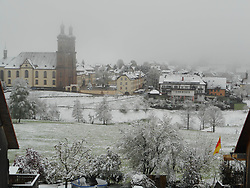 Germany, Sankt Peter (Black Forest) - May 4, 2019.Snow in spring.Cold air and snow return to Germany. View of the church of St. Peter with snow (Credit Image: © Antonio Pisacreta/Ropi via ZUMA Press)