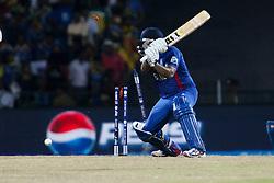 © Licensed to London News Pictures. 01/10/2012. Englishmen Samit Patel gets bowled during the T20 Cricket World super 8's match between England Vs Sri Lanka at the Pallekele International Stadium Cricket Stadium, Pallekele. Photo credit : Asanka Brendon Ratnayake/LNP