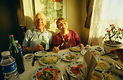 American passengers Joe and Ginnie Hall having a splendid Chinese dinner in the Marco Polo Express.