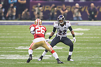 3 February 2013: Cornerback (22) Jimmy Smith of the Baltimore Ravens covers (26) Tramaine Brock of the San Francisco 49ers during the second half of the Ravens 34-31 victory over the 49ers in Superbowl XLVII at the Mercedes-Benz Superdome in New Orleans, LA.