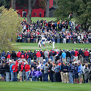 Ryder Cup 2016. Dustin Johnson of the United States practices a shot onto the 16th green during practice day in front of massive crowds at the Hazeltine National Golf Club on September 28, 2016 in Chaska, Minnesota.  (Photo by Tim Clayton/Corbis via Getty Images)