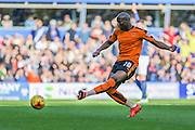 Wolverhampton Wanderers Benik Afobe takes a shot during the Sky Bet Championship match between Birmingham City and Wolverhampton Wanderers at St Andrews, Birmingham, England on 31 October 2015. Photo by Shane Healey.