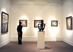 © licensed to London News Pictures. LONDON, UK.  09/06/11. Press preview for Sotheby's upcoming Sale of The Hascoe Family Collection of Important Czech Art. Highlights include a group of 20 paintings from Frantiek Kupka, including Movement, which is estimated to fetch £500,000 to £700,000 and Bohumil Kubi?ta's Still Life with Fruit of 1909, estimated at £300,000 to £500,000.  Photo credit should read Stephen Simpson/LNP