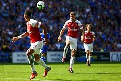 Aaron Ramsey of Arsenal passes the ball through for Pierre-Emerick Aubameyang of Arsenal - Mandatory by-line: Ryan Hiscott/JMP - 02/09/2018 -  FOOTBALL - Cardiff City Stadium - Cardiff, Wales -  Cardiff City v Arsenal - Premier League