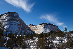 Checkerboard Mesa covered in snow, Zion National Park, Utah, United States of America