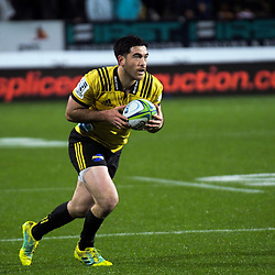 Nehe Milner-Skudder in action during the Super Rugby match between the Chiefs and Hurricanes at FMG Stadium in Hamilton, New Zealand on Friday, 13 July 2018. Photo: Dave Lintott / lintottphoto.co.nz