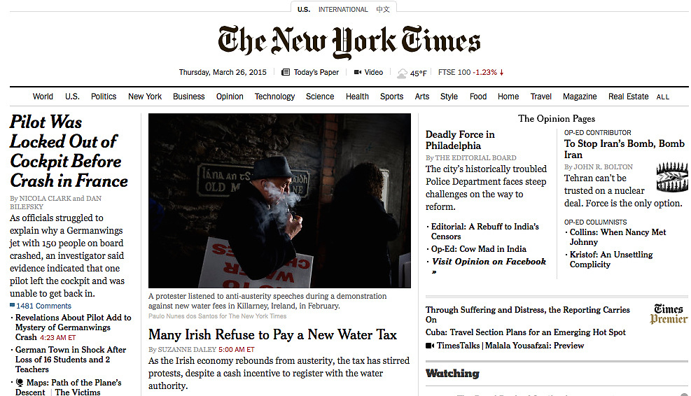 "Screengrab of ""Many in Ireland Vow Not to Pay a New Water Tax"" published in The New York Times"