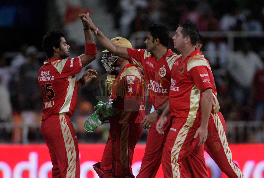 DURBAN, SOUTH AFRICA - 1 May 2009. Bangalore celebrate during the IPL Season 2 match between Kings X1 Punjab and the Royal Challengers Bangalore held at Sahara Stadium Kingsmead, Durban, South Africa..