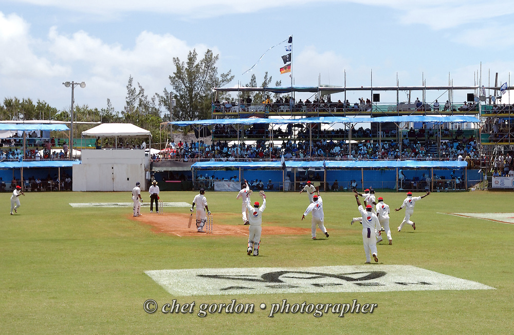 The St. George's and Somerset Cricket Clubs on the pitch during the first day of Cup Match at the St. George's Cricket Club in St. George's, Bermuda on Thursday, July 28, 2011. The 109th. Annual Cup Match takes place during the two day public holidays of Emancipation Day and Somers Day in Bermuda.