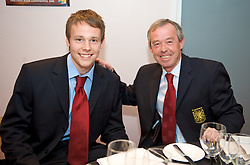 CARDIFF, WALES - Tuesday, October 7, 2008: Wales' Chris Gunter and Under-21 coach Brian Flynn at the Brains Beer Wales Football Awards at the Millennium Stadium. (Photo by David Rawcliffe/Propaganda)