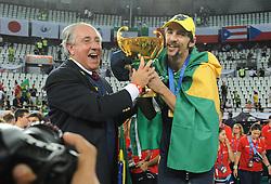 10-10-2010 VOLLEYBAL: FIVB 2010 WORLD CHAMPIONSHIP: CUBA - BRAZIL: ROME<br /> Brazil players celebrating victory - Cuba vs Brazil 0-3 final -  Giba<br /> ©2010- Baldassarre/Staccioli Insidefoto / WWW.FOTOHOOGENDOORN.NL