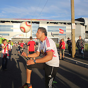 Fans are entertained with soccer ball skills outside Red Bull Arena before the New York Red Bulls V Sporting Kansas City Major League Soccer regular season match at Red Bull Arena, Harrison. New Jersey. USA. 19th September 2012. Photo Tim Clayton