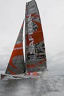 Marc Guillemot the skipper of the IMOCA Open60 Safran. At the start of Vendee Globe 2012. Les Sables d Olonne. France. .Credit: Lloyd Images