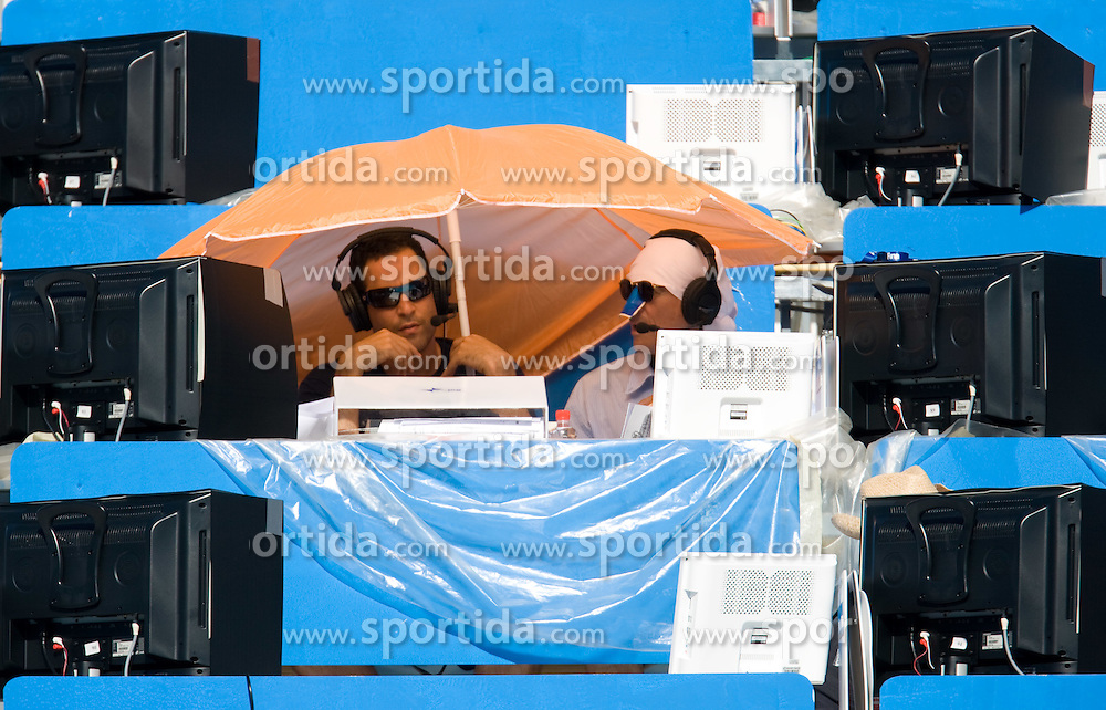 TV journalists during the 13th FINA World Championships Roma 2009, on July 27, 2009, at the Stadio del Nuoto,  in Foro Italico, Rome, Italy. (Photo by Vid Ponikvar / Sportida)