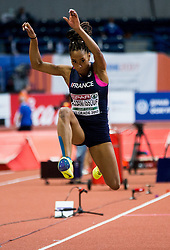 Jeanine Assani Issouf of France competes in the Triple Jump Women Qualification on day one of the 2017 European Athletics Indoor Championships at the Kombank Arena on March 3, 2017 in Belgrade, Serbia. Photo by Vid Ponikvar / Sportida