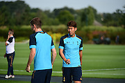 Heung-Min Son looks on during Tottenham Training Session at Tottenham Training Centre, Enfield, United Kingdom on 13 September 2016. Photo by Jon Bromley.