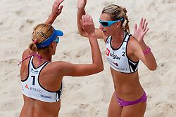 Andreja Vodeb and Martina Jakob at Zavarovalnica Triglav Beach Volley Open as tournament for Slovenian national championship on July 30, 2011, in Kranj, Slovenia. (Photo by Matic Klansek Velej / Sportida)