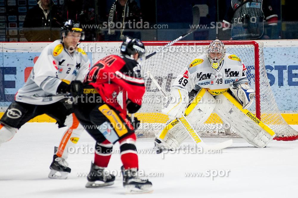 06.03.2016, Ice Rink, Znojmo, CZE, EBEL, HC Orli Znojmo vs Dornbirner Eishockey Club, Viertelfinale, 5. Spiel, im Bild v.l. Olivier Magnan (Dornbirner) Martin Podesva (HC Orli Znojmo), Florian Hardy (Dornbirner) // during the Erste Bank Icehockey League 5th quarterfinal match between HC Orli Znojmo and Dornbirner Eishockey Club at the Ice Rink in Znojmo, Czech Republic on 2016/03/06. EXPA Pictures © 2016, PhotoCredit: EXPA/ Rostislav Pfeffer