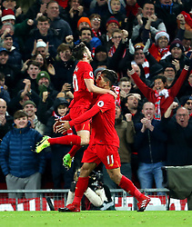 Roberto Firmino of Liverpool celebrates after scoring his sides second goal  - Mandatory by-line: Matt McNulty/JMP - 27/12/2016 - FOOTBALL - Anfield - Liverpool, England - Liverpool v Stoke City - Premier League