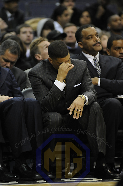 19 December 2007:   Washington Wizards head coach Eddie Jordan reacts to his team's play during the game against the Chicago Bulls at the Verizon Center in Washington, D.C.  The Bulls defeated the Wizards 95-84.