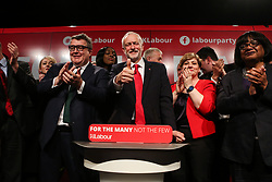 © Licensed to London News Pictures. 09/05/2017. Manchester, UK. Labour leader Jeremy Corbyn is surrounded by shadow cabinet members Tom Watson, Emily Thornbury, Diane Abbott and newly elected Mayor of Manchester Andy Burnham after speaking to supporters and the media at a rally in Manchester to launch their general election election campaign. Photo credit : Ian Hinchliffe/LNP