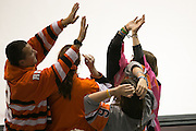 RIT fans celebrate a third period goal during a game against Union College at the Gene Polisseni Center on October 3, 2014.