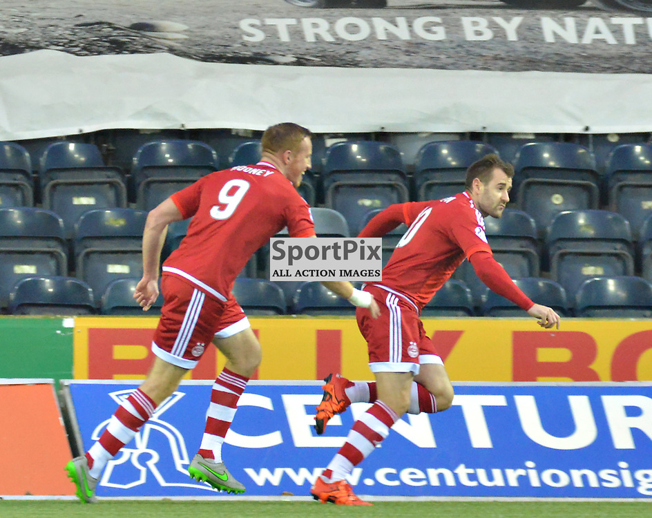 Adam Rooney chases team mate Niall McGinn to celebrate the opening goal at Rugby Park.....(c) BILLY WHITE | SportPix.org.uk
