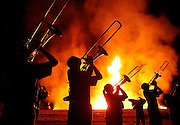 Members of the Tuscaloosa County High School marching band play in front of the homecoming bonfire at the school during a pep rally in Northport Thursday evening, September 15, 2016.  Staff Photo/Gary Cosby Jr.