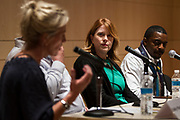 """Arts Program Administrator for the City of Madison Karin Wolf looks on during the Capital Times Talk entitled """"How Can Madison get Better Public Art?"""" at the Madison Museum of Contemporary Art in Madison, Wisconsin, Wednesday, Feb. 21, 2018."""