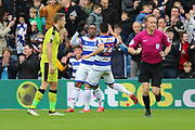 Queens Park Rangers midfielder Yeni Atito Ngbakoto (23) celebrating after scoring 3-1 with Queens Park Rangers midfielder Massimo Luongo (21) during the EFL Sky Bet Championship match between Queens Park Rangers and Rotherham United at the Loftus Road Stadium, London, England on 18 March 2017. Photo by Matthew Redman.
