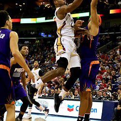 Nov 4, 2016; New Orleans, LA, USA; New Orleans Pelicans guard Buddy Hield (24) shoots over Phoenix Suns forward Jared Dudley (3) during the second quarter of a game at the Smoothie King Center. Mandatory Credit: Derick E. Hingle-USA TODAY Sports