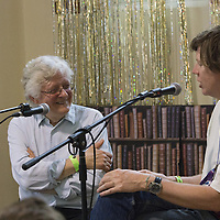 Barry Miles and Thurston Moore<br /> On stage at the Stoke Newington Literary Festival. 8 June 2014<br /> <br /> Picture by David X Green/Writer Pictures