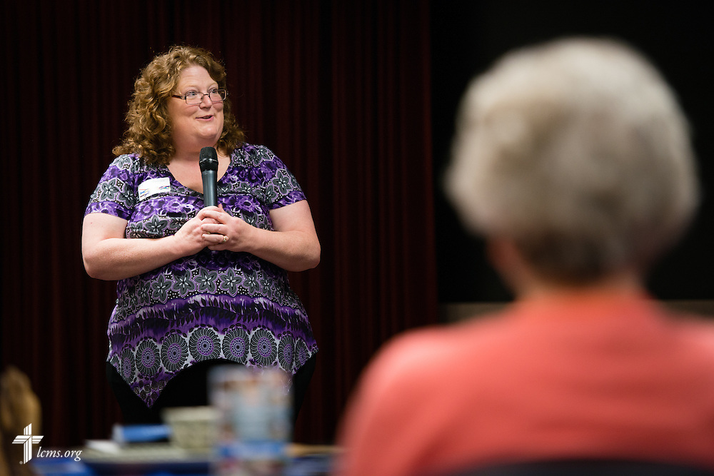 Maureen Lenz, volunteer manager, greets participants during the volunteer luncheon at the International Center of The Lutheran Church–Missouri Synod on Thursday, April 16, 2015, in Kirkwood, Mo. LCMS Communications/Erik M. Lunsford
