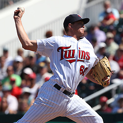 March 13, 2011; Fort Myers, FL, USA; Minnesota Twins pitcher Kyle Gibson (60) during a spring training exhibition game against the Philadelphia Phillies at Hammond Stadium.   Mandatory Credit: Derick E. Hingle