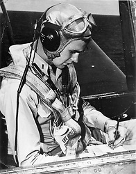 Undated photo of future United States President George H.W. Bush as a United States Navy pilot seated in the cockpit of an Avenger. Bush enlisted in the U.S. Navy as a Seaman 2nd Class, on his 18th birthday, June 12, 1942. He received his wings and commission in June, 1943 while still 18 years old. He was the youngest pilot in the Navy at that time. On active duty from August 1942 to September 1945, during World War II, Mr. Bush flew torpedo bombers off the USS San Jacinto. On September 2, 1944, Mr. Bush's plane was hit by anti-aircraft fire while making a bombing run over the Bonin Island of Chichi Jima, 600 miles south of Japan. Although the plane was afire and severely damaged, he completed his strafing run on the targeted Japanese installation before flying towards sea to bail out. Mr. Bush was able to bail out successfully and was rescued by a Navy submarine, the USS Finback. Tragically, his two crew members were killed. For his courageous service in the Pacific Theater, Mr. Bush was awarded the Distinguished Flying Cross and three Air Medals. Photo by White House via CNP/ABACAPRESS.COM