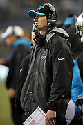 Carolina Panthers quarterbacks coach Ken Dorsey looks on from the sideline during the NFL week 19 NFC Divisional Playoff football game against the Seattle Seahawks on Saturday, Jan. 10, 2015 in Seattle. The Seahawks won the game 31-17. ©Paul Anthony Spinelli