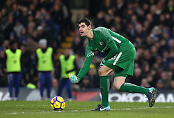 """Chelsea goalkeeper Thibaut Courtois during the Premier League match at Stamford Bridge, London. PRESS ASSOCIATION Photo. Picture date: Saturday January 13, 2018. See PA story SOCCER Chelsea. Photo credit should read: Jonathan Brady/PA Wire. RESTRICTIONS: EDITORIAL USE ONLY No use with unauthorised audio, video, data, fixture lists, club/league logos or """"live"""" services. Online in-match use limited to 75 images, no video emulation. No use in betting, games or single club/league/player publications."""
